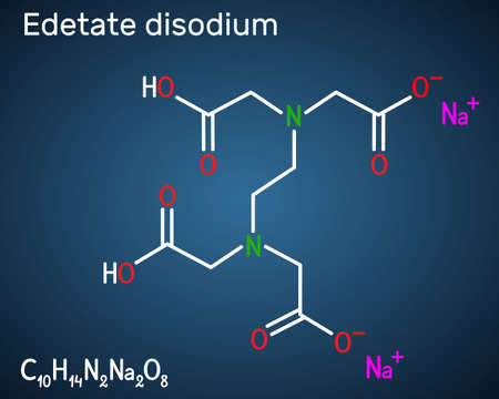 Disodium EDTA, edetate disodium, disodium edetate, molecule. It is diamine, is polyvalent chelating agent used to treat hypercalcemia. Structural chemical formula on the dark blue background. Vector illustration