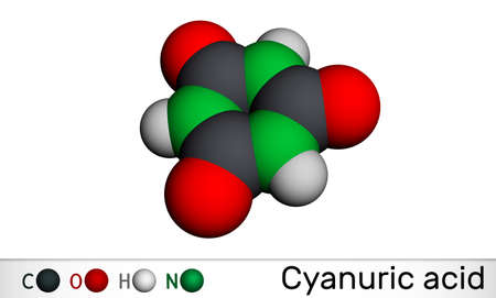Cyanuric acid molecule. It is triazine, enol tautomer of isocyanuric acid. Molecular model. 3D rendering. 3D illustration Banque d'images