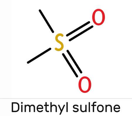 Methylsulfonylmethane, MSM, methyl sulfone, dimethyl sulfone molecule. It is organosulfur compound with sulfonyl functional group. Skeletal chemical formula. Illustration