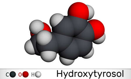Hydroxytyrosol molecule. It is catechol, phenolic phytochemical occurring in extra virgin olive oil, with antioxidant, anti-inflammatory activities. Molecular model. 3D rendering. 3D illustration