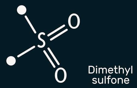 Methylsulfonylmethane, MSM, methyl sulfone, dimethyl sulfone molecule. It is organosulfur compound with sulfonyl functional group. Skeletal chemical formula on the dark blue background. Ilustration