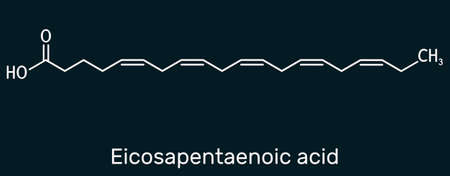 Eicosapentaenoic acid, EPA, icosapentaenoic acid, icosapent molecule. It is an omega-3 polyunsaturated long-chain fatty acid. Skeletal chemical formula on the dark blue background. Illustration Banque d'images