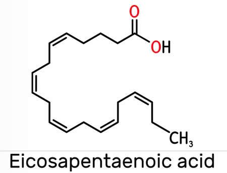 Eicosapentaenoic acid, EPA, icosapentaenoic acid, icosapent molecule. It is an omega-3 polyunsaturated long-chain fatty acid. Skeletal chemical formula. Illustration