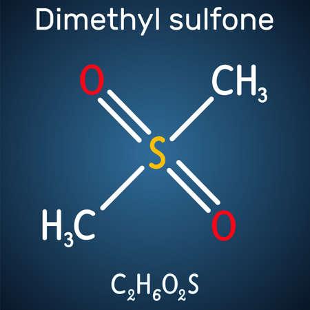 Methylsulfonylmethane, MSM, methyl sulfone, dimethyl sulfone molecule. It is organosulfur compound with sulfonyl functional group. Structural chemical formula on the dark blue background. Vector illustration