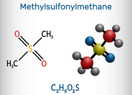 Methylsulfonylmethane, MSM, methyl sulfone, dimethyl sulfone molecule. It is organosulfur compound with sulfonyl functional group. Structural chemical formula and molecule model. Vector illustration