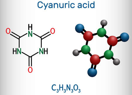 Cyanuric acid molecule. It is triazine, enol tautomer of isocyanuric acid. Structural chemical formula and molecule model. Vector illustration Banque d'images - 163115370
