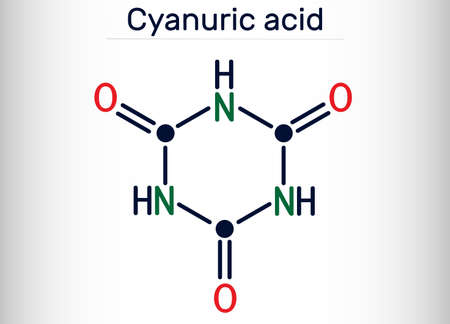 Cyanuric acid molecule. It is triazine, enol tautomer of isocyanuric acid. Skeletal chemical formula. Vector illustration Banque d'images - 163115371