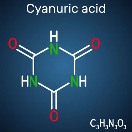 Cyanuric acid molecule. It is triazine, enol tautomer of isocyanuric acid. Structural chemical formula on the dark blue background. Vector illustration Banque d'images - 163115372