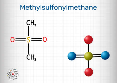 Methylsulfonylmethane, MSM, methyl sulfone, dimethyl sulfone molecule. It is organosulfur compound with sulfonyl functional group. Structural chemical formula and molecule model. Sheet of paper in a cage. Vector illustration Illustration