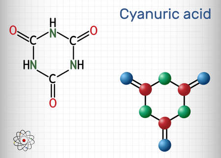 Cyanuric acid molecule. It is triazine, enol tautomer of isocyanuric acid. Structural chemical formula and molecule model. Sheet of paper in a cage. Vector illustration