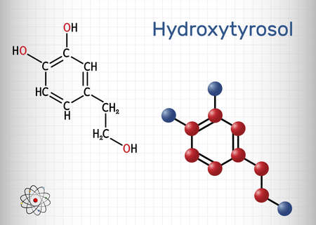 Hydroxytyrosol molecule. It is catechol, phenolic phytochemical occurring in extra virgin olive oil, with antioxidant, anti-inflammatory activities. Sheet of paper in a cage. Vector illustration