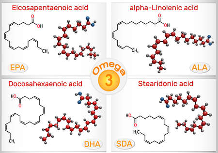 Omega-3, polyunsaturated fatty acids. Eicosapentaenoic acid (EPA), docosahexaenoic acid (DHA), stearidonic acid (SDA), alpha-linolenic acid (ALA). Vector illustration Banque d'images - 163115388
