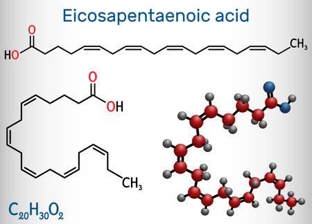 Eicosapentaenoic acid, EPA, icosapentaenoic acid, icosapent molecule. It is an omega-3 polyunsaturated long-chain fatty acid. Structural chemical formula and molecule model. Vector illustration