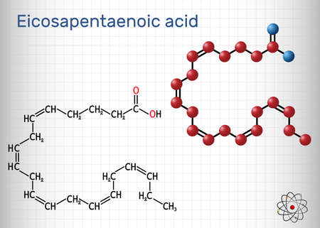 Eicosapentaenoic acid, EPA, icosapentaenoic acid, icosapent molecule. It is an omega-3 polyunsaturated long-chain fatty acid. Sheet of paper in a cage. Vector illustration