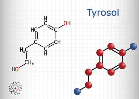 Tyrosol, phenylethanoid, antioxidant molecule. It is an anti-arrhythmia, a cardiovascular drug, a protective agent. Sheet of paper in a cage. Vector illustration