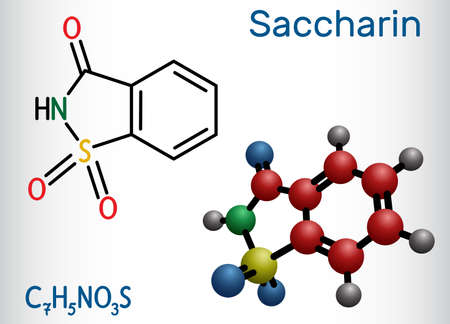 Saccharin molecule. It is artificial sweetener, sweetening agent, xenobiotic and environmental contaminant. Structural chemical formula and molecule model. Vector illustration
