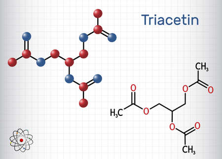 Triacetin, glycerin triacetate molecule. It is triglyceride, triester of glycerol, food additive, E1518. Structural chemical formula, molecule model. Sheet of paper in a cage. Vector illustration