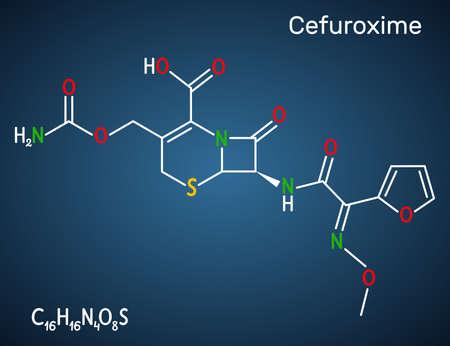 Cefuroxime molecule. It is second-generation cephalosporin antibiotic for the treatment of pneumonia, meningitis, otitis media, sepsis. Dark blue background. Vector illustration