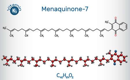 Menachinon-7, MK-7 molecule. It is vitamin K2, menaquinone. Structural chemical formula and molecule model. Vector illustration