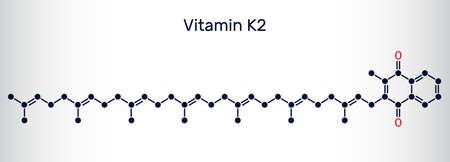 Vitamin K2, menachinon-7, MK-7 molecule. It is menaquinone. Skeletal chemical formula. Vector illustration