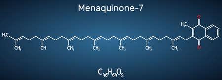 Menachinon-7, MK-7 molecule. It is vitamin K2, menaquinone. Structural chemical formula on the dark blue background. Vector illustration