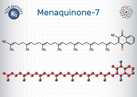 Menachinon-7, MK-7 molecule. It is vitamin K2, menaquinone. Structural chemical formula and molecule model. Sheet of paper in a cage. Vector illustration