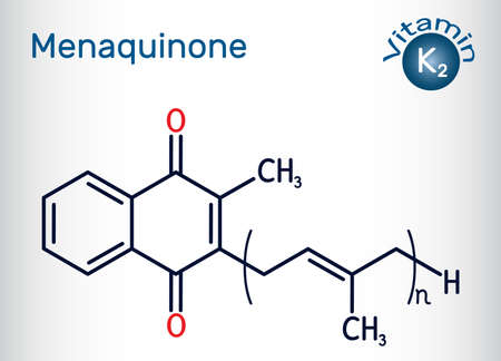Vitamin K2, menaquinone molecule. Menatetrenone, MK-4, MK-5, menachinon-7, MK-7, MK-9. Skeletal chemical formula. Vector illustration