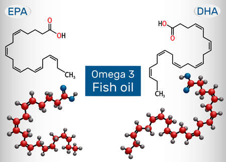 Fish oil, Omega 3. Eicosapentaenoic acid (EPA), docosahexaenoic acid (DHA) molecule. Polyunsaturated fatty acids. Vector illustration