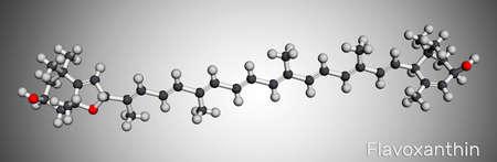 Flavoxanthin molecule. It is xanthophyll golden-yellow color pigment, food additive, E161a. Molecular model. 3D rendering. 3D illustration