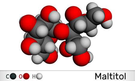 Maltitol molecule. It is sweetener, sugar substitute, polyol, sugar alcohol. Molecular model. 3D rendering. 3D illustration