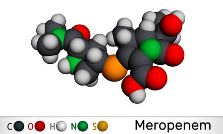 Meropenem molecule. It is broad-spectrum carbapenem antibiotic. Molecular model. 3D rendering. 3D illustration Banque d'images