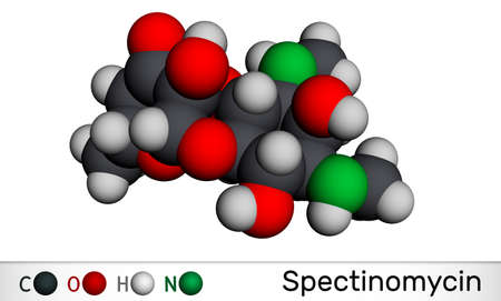 Spectinomycin molecule. It is pyranobenzodioxin, aminocyclitol aminoglycoside antibiotic. Used for the treatment of gonorrhea. Molecular model. 3D rendering. 3Dillustration Banque d'images