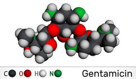 Gentamicin molecule. It is broad-spectrum aminoglycoside antibiotic. Molecular model. 3D rendering. 3D illustration
