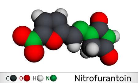 Nitrofurantoin molecule. It is nitrofuran antibiotic used to treat urinary tract infections. Molecular model. 3D rendering. 3D illustration Banque d'images