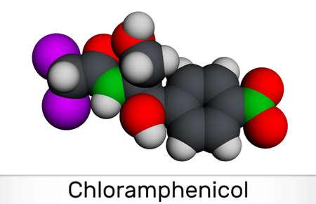 Chloramphenicol molecule. It is bacteriostatic broad-spectrum antibiotic. Molecular model. 3D rendering. 3D illustration