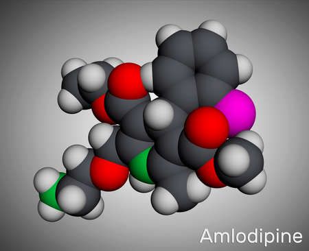 Amlodipine molecule. It is vasodilator, antihypertensive drug group of dihydropyridine calcium channel blockers. Used in the treatment of high blood pressure, angina. Molecular model. 3D rendering. Illustration Banco de Imagens