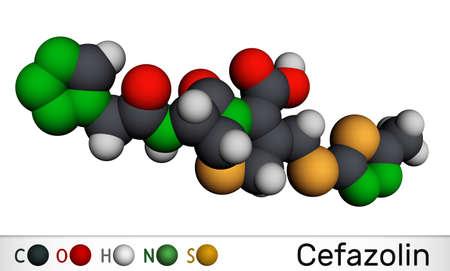 Cefazolin, cefazoline, cephazolin molecule. It is s beta-lactam antibiotic, first-generation cephalosporin. Molecular model. 3D rendering. 3D illustration