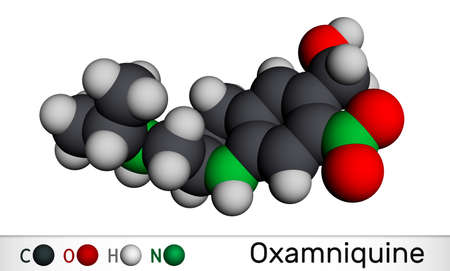 Oxamniquine molecule. It is member of quinolines, anthelmintic with schistosomicidal activity against Schistosoma mansoni, used to treat schistosomiasis. Molecular model. 3D rendering. 3D Illustration