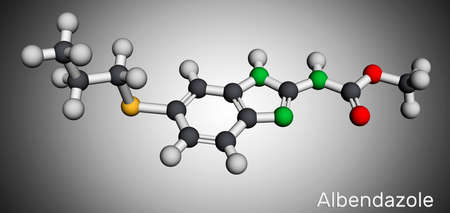 Albendazole molecule. It is a broad-spectrum, synthetic benzimidazole-derivative anthelmintic, used in treatment of parasitic worm infestations. Molecular model. 3D rendering. 3D illustration Banco de Imagens