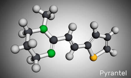 Pyrantel molecule. It is pyrimidine derivative anthelmintic antinematodal drug for treatment of intestinal nematodes such as pinworms and roundworms. Molecular model. 3D rendering. 3D Iillustration Banco de Imagens