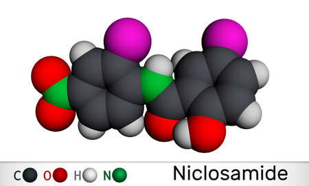 Niclosamide molecule. It is chlorinated salicylanilide, antihelminthic for the treatment of tapeworm drug infections. Molecular model. 3D rendering. 3D illustration Banco de Imagens