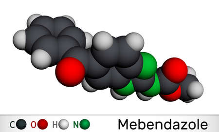 Mebendazole, MBZ molecule. It is synthetic benzimidazole derivate and anthelmintic drug. Molecular model. 3D rendering. 3D illustration Banco de Imagens