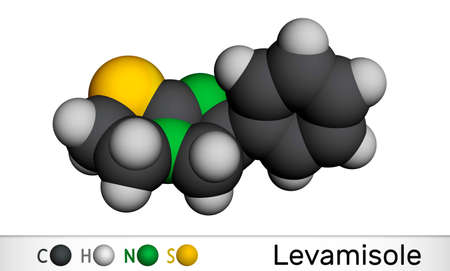 Levamisole molecule. It is antihelminthic drug for the treatment of parasitic, viral, bacterial infections. Molecular model. 3D rendering. 3D illustration