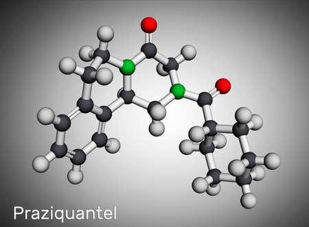 Praziquantel, PZQ, molecule. It is anthelmintic drug for treatment cysticercosis, schistosome, cestode and trematode infestations. Molecular model. 3D rendering. 3D illustration Banque d'images