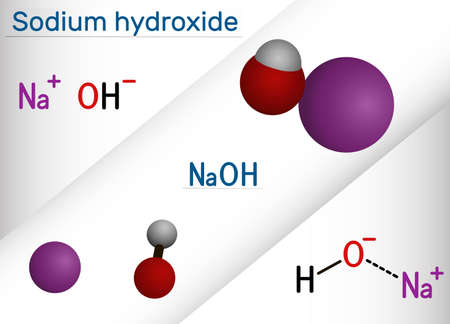 Sodium hydroxide, caustic soda, lye molecule. NaOH is highly caustic base and alkali, ionic compound. Structural chemical formula and molecule model. Vector illustration Illustration