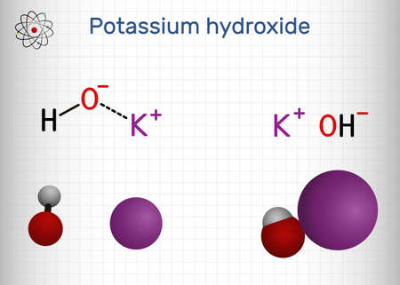 Potassium hydroxide, caustic potash, lye molecule. KOH is strong caustic base and alkali, ionic compound. Structural chemical formula and molecule model. Sheet of paper in a cage. Vector illustration
