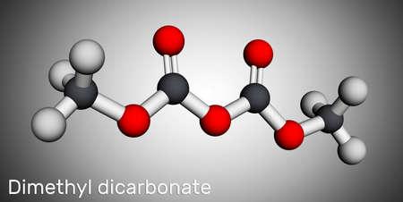 Dimethyl dicarbonate, DMDC, velcorin, dimethyl pyrocarbonate molecule. It is beverage preservative, sterilant, food additive E242. Molecular model. 3D rendering. 3D illustration Banque d'images
