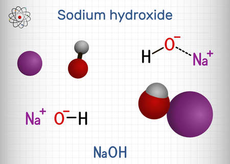 Sodium hydroxide, caustic soda, lye molecule. NaOH is highly caustic base and alkali, ionic compound. Structural chemical formula and molecule model. Sheet of paper in a cage. Vector illustration