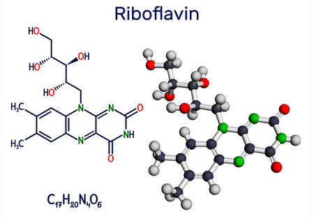 Riboflavin, vitamin B2 molecule. It is water-soluble flavin, is found in food, used as a dietary supplement E101. Structural chemical formula and molecule model. Illustration