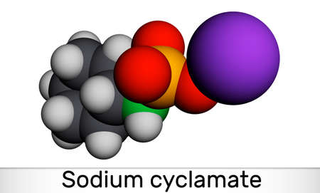 Sodium cyclamate molecule. Cyclamate is an artificial sweetener, food additive E952. Molecular model. 3D rendering. 3D illustration
